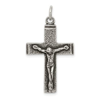 Sterling Silver Antiqued Squared Cross Crucifix Pendant