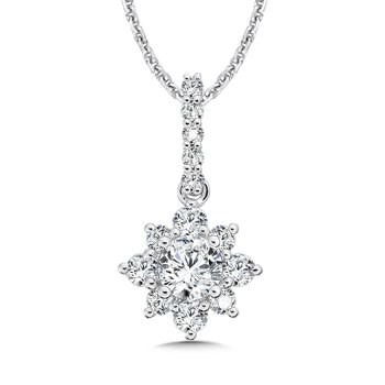 Floral Diamond Pendant with Diamond Bale in 14K White Gold (1/2ct. tw.)