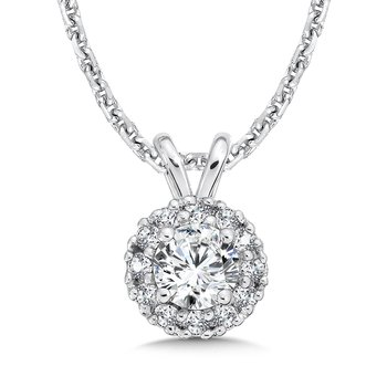 Diamond Round Halo Pendant with Split Bale in 14K White Gold (1/3ct. tw.)