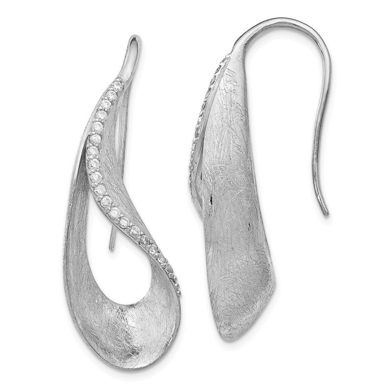 Leslie's Leslie's Sterling Silver Scratch Finish CZ Shepherd Hook Earrings
