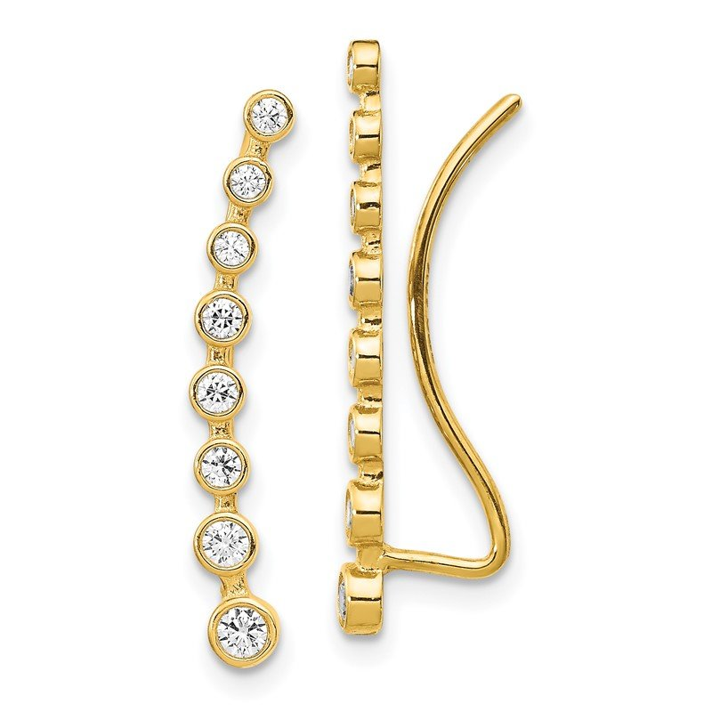 Quality Gold 14K CZ Ear Climber Earrings