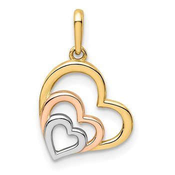 14K w/Rose and White Rhodium Polished 3 Hearts Pendant
