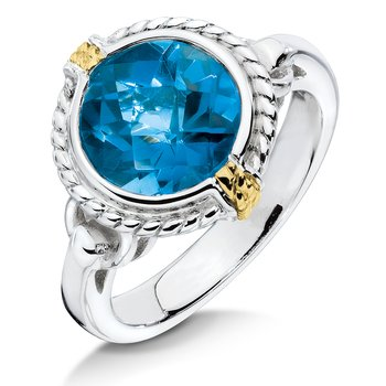 Sterling silver, 18k gold and london blue topaz ring