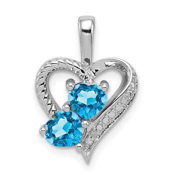 Sterling Silver Rhodium-plated Blue Topaz Diamond Pendant