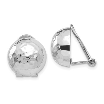 14k White Gold 12mm Hammered Non-pierced Earrings