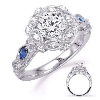White Gold Sapp & Dia Engagement Ring