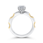 18K Two Tone Gold Round Diamond Engagement Ring (Semi-Mount)