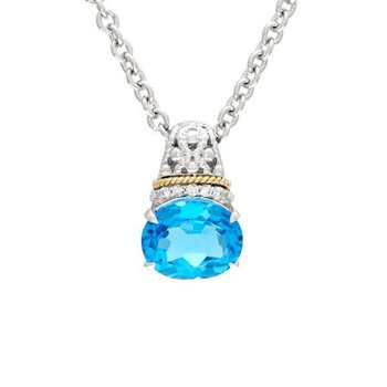 18kt and Sterling Silver Blue Topaz & Diamond Pendant with Chain