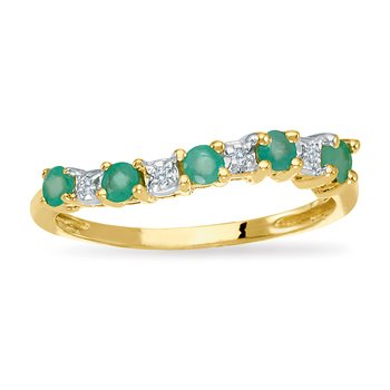 14k Yellow Gold Emerald and Diamond Wave Band