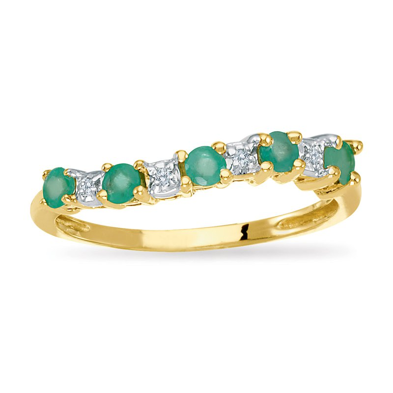 Color Merchants 14k Yellow Gold Emerald and Diamond Wave Band