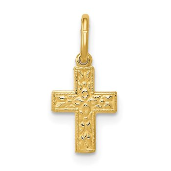 14K Floral Cross Charm