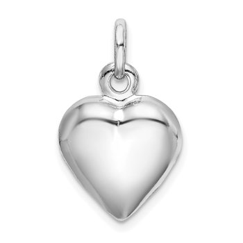 Sterling Silver Rhodium-plated Puffed Heart Charm