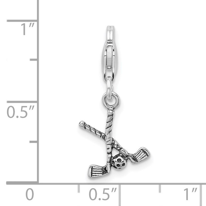 Arizona Diamond Center Collection Sterling Silver Antiqued Golf Clubs & Ball w/Lobster Clasp Charm