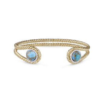 LuvMyJewelry Glory of the Sun Turquoise & Diamond Cuff in Sterling Silver & 14 KT Yellow Gold Plating