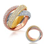 S. Kashi & Sons Bridal Shared Prong Tri-Color Eternity