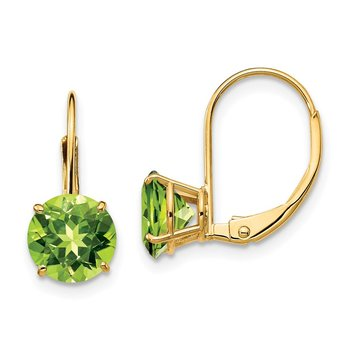 14k 7mm Peridot Leverback Earrings