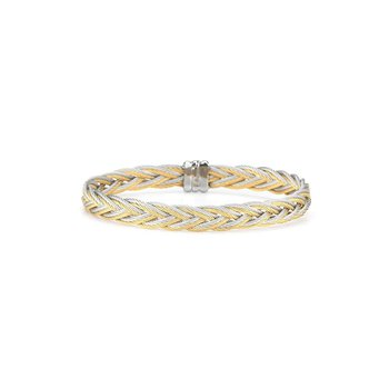 Grey & Yellow Braided Cable Bracelet