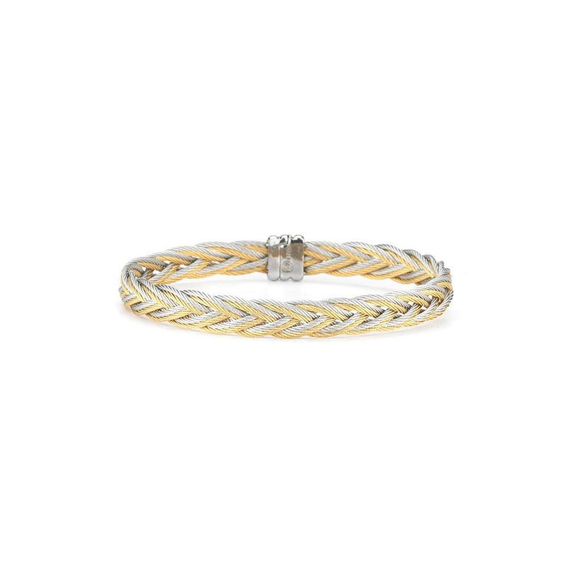 ALOR Grey & Yellow Braided Cable Bracelet