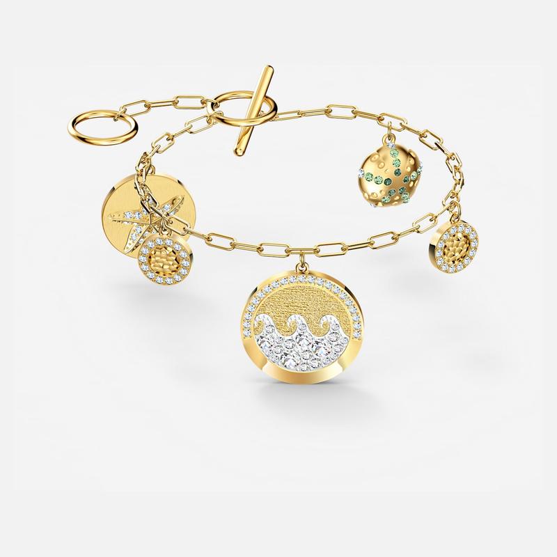 Swarovski Shine Coins Bracelet, Light multi-colored, Gold-tone plated