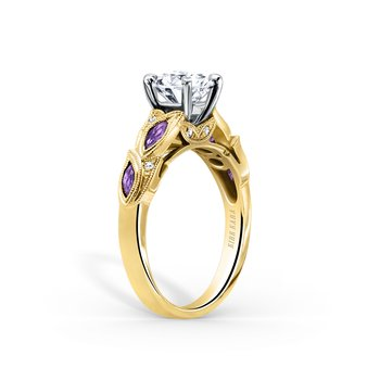 Amethyst Floral Leaf Diamond Engagement Ring