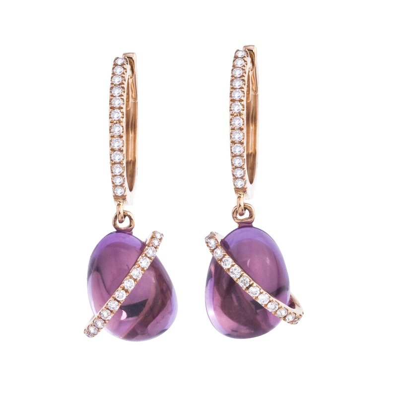 Color Merchants 14K White Gold Cabochon Amethyst and Diamond Earrings