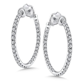 Diamond Reflection Hoops in 14K White Gold with Platinum Post (1.45 ct. tw.)