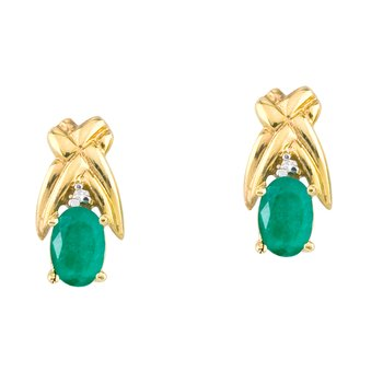 14k Yellow Gold 6x4mm Oval Emerald and Diamond Stud Earrings