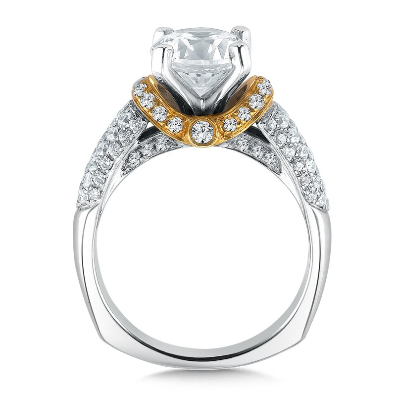 Valina Bridals Mounting with side stones .65 ct. tw., 2 ct. round center.