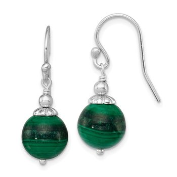 Sterling Silver Rhodium-plated Malachite Drop Earrings