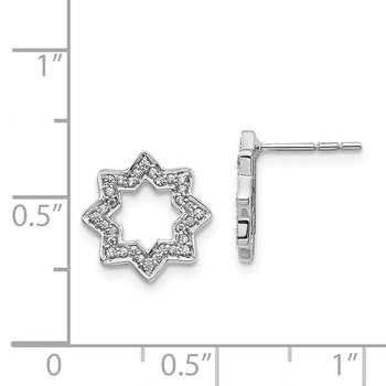 14k White Gold Diamond Fancy Star Earrings