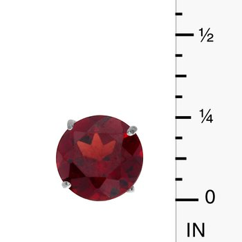 6mm Round 14k White Gold Garnet Stud Earrings