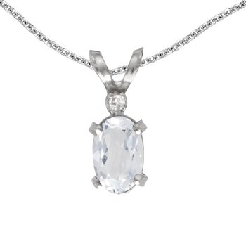 14k White Gold Oval White Topaz And Diamond Filagree Pendant