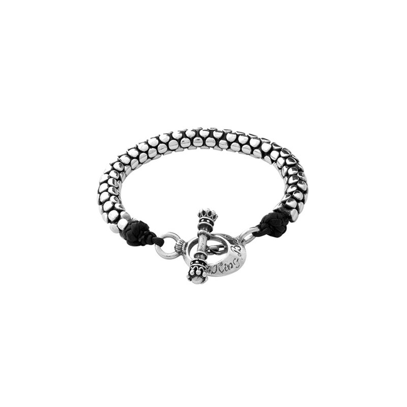 King Baby Original Leather And Silver Snake Bracelet