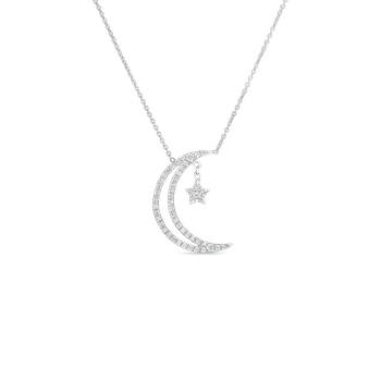 18KT GOLD DOUBLE LINE HALF MOON WITH DIAMONDS