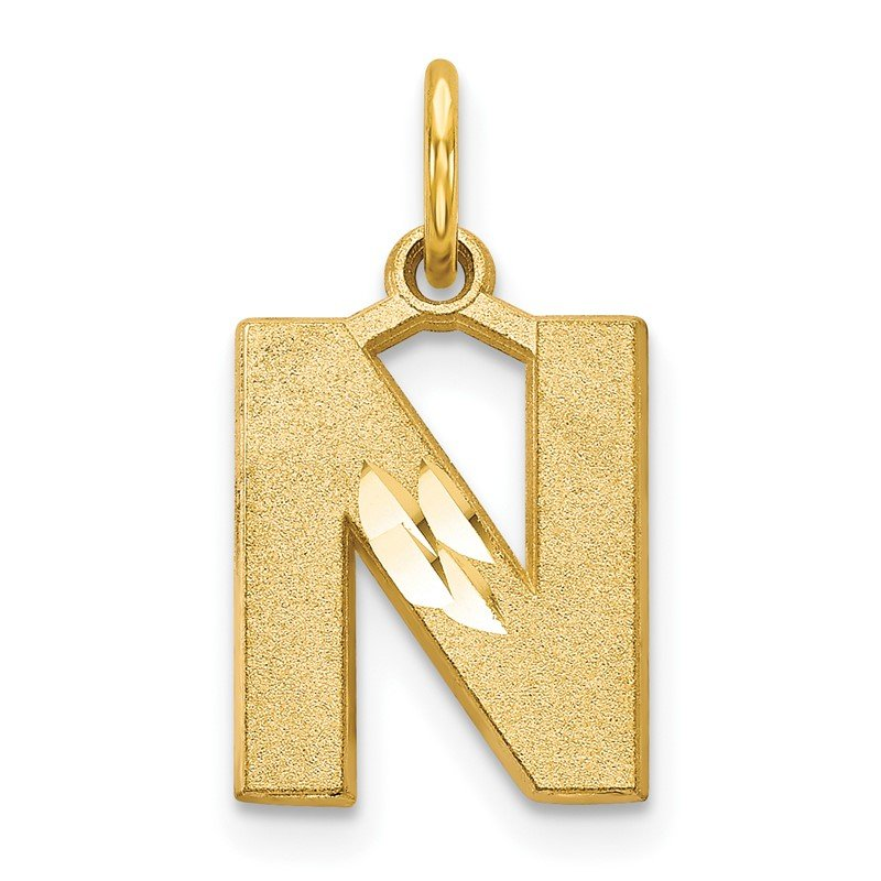 Quality Gold 14KY Satin Diamond-cut Letter N Initial Charm
