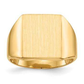 14k 15.0x13.5mm Closed Back Mens Signet Ring