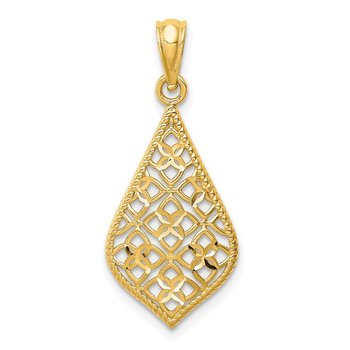 14K Diamond-cut Dangle Pendant