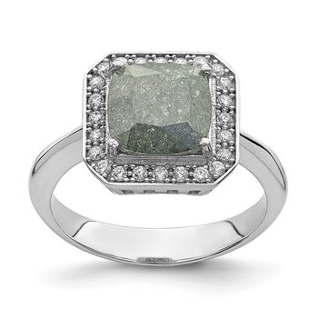 Sterling Silver Rhodium-plated Dark Gray Ice CZ Polished Ring