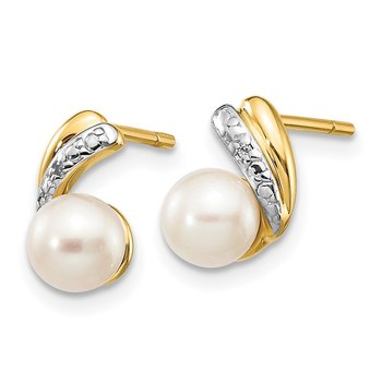 14k 5-6mm White Round FWC Pearl .01ct Diamond Post Earrings
