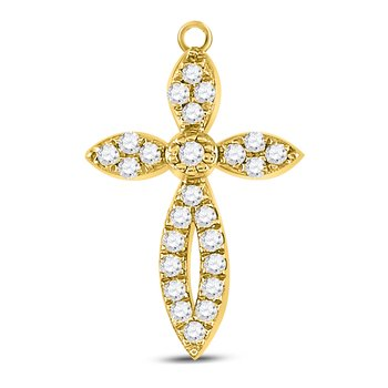 10kt Yellow Gold Womens Round Diamond Cross Faith Pendant 1/6 Cttw