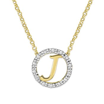 "Gold and Diamond Mini Halo ""J"" Initial Necklace"