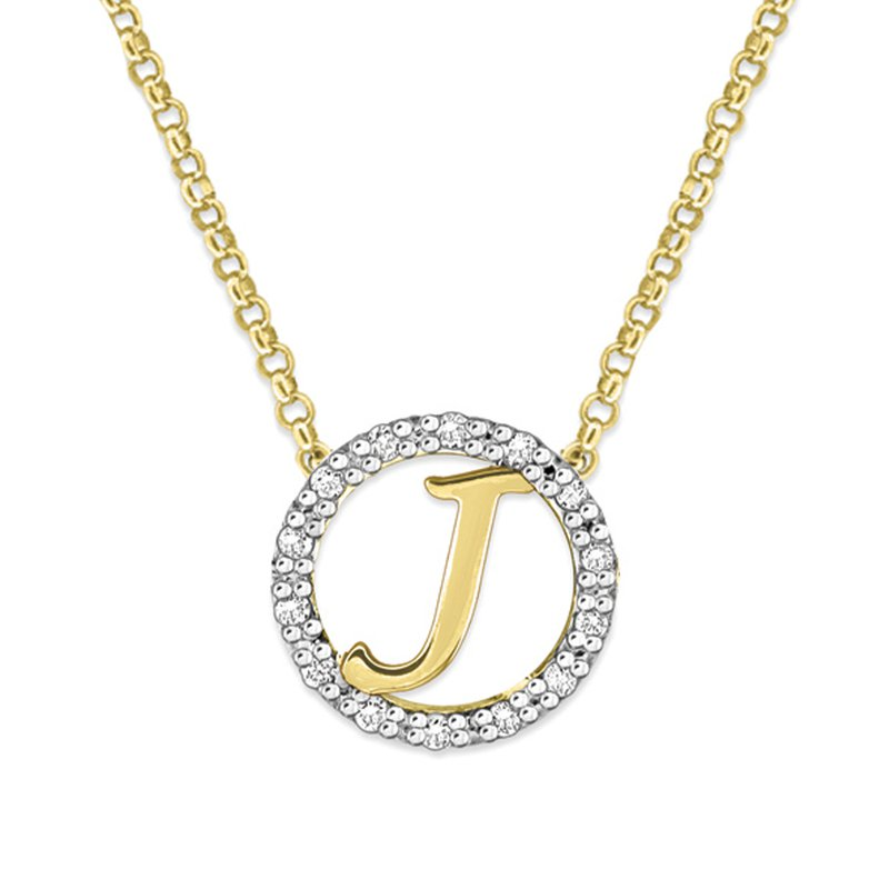 "KC Designs Gold and Diamond Mini Halo ""J"" Initial Necklace"