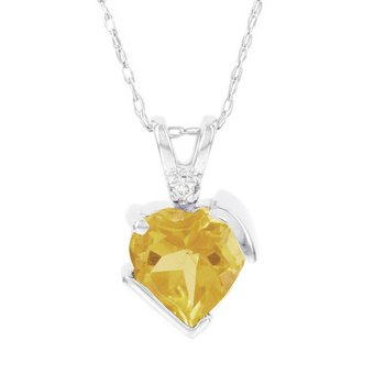 10k White Gold Citrine and Diamond Accent Heart Pendant