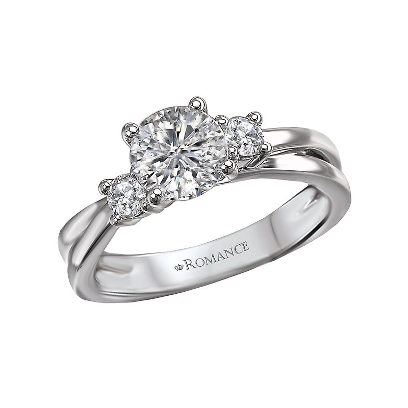 Romance 3-Stone Semi-Mount Diamond Ring