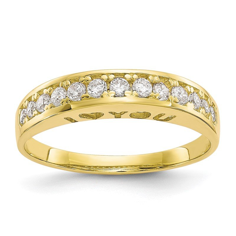 Quality Gold 10k I LOVE YOU FOREVER CZ Ring
