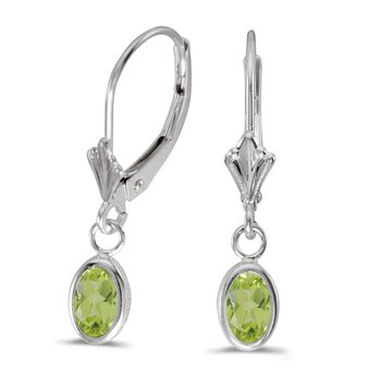 14k White Gold Oval Peridot Bezel Lever-back Earrings