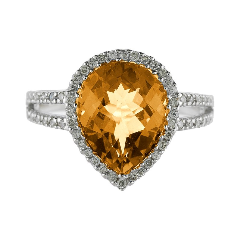 Color Merchants 14k White Gold Pear Cushion Citrine And Diamond Ring