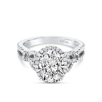 Bows Diamond Oval Halo Engagement Ring