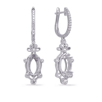 White Gold Diamond Earring 8x4mm
