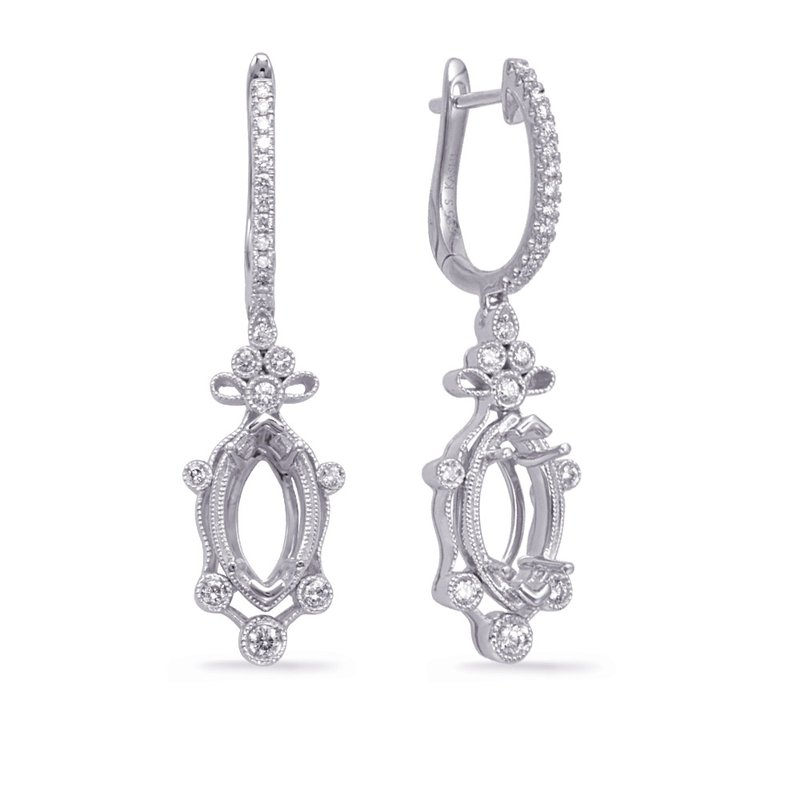 S. Kashi  & Sons White Gold Diamond Earring 8x4mm